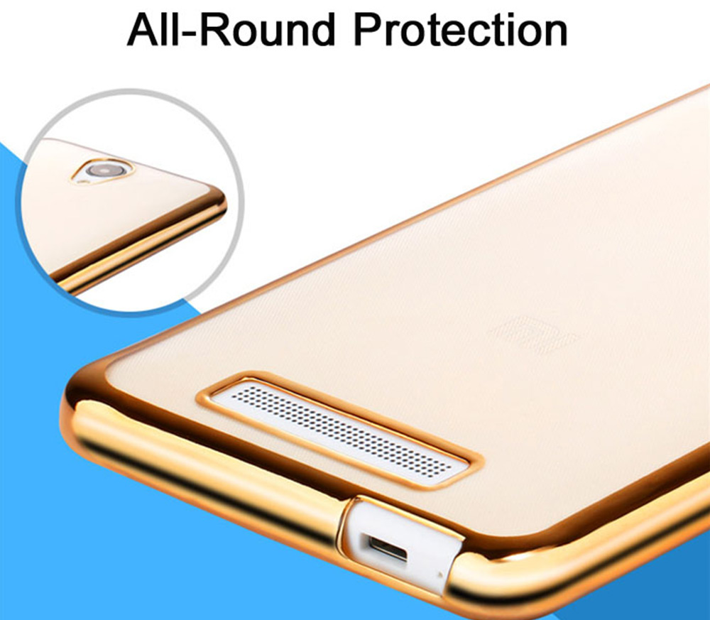 ASLING TPU Soft Protective Case for Xiaomi Redmi NOTE 2 Ultrathin Transparent Style Protector with Electroplated Edge