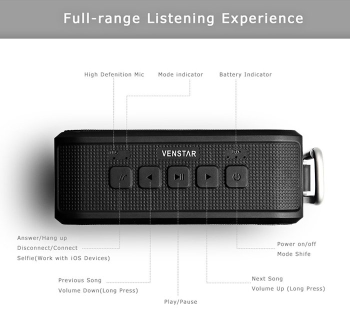 VENSTAR S203 Wireless Bluetooth 4.0 Speaker Music Player