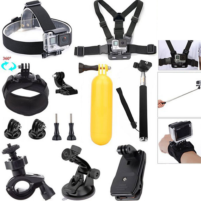 CP-GPK04 Universal Action Accessory Kit / Head Chest Wrist Strap Selfie Stick J-Shape Base Floating Grip Backpack Clip Suction Cup Bracket