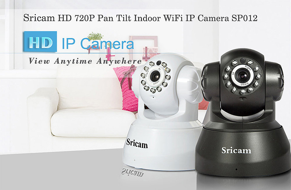 Sricam SP012 720P H.264 Wifi 1.0 Megapixel Wireless ONVIF Security IP Camera TF Slot Two-way Voice