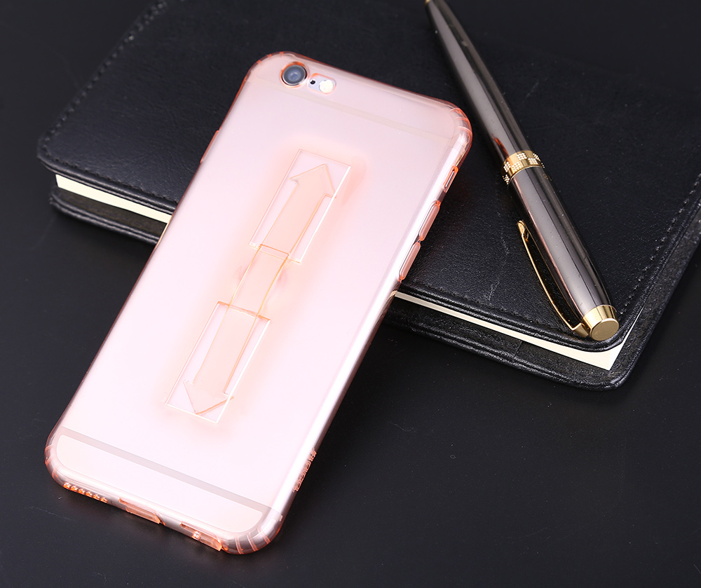 1 Piece HOCO 5.5 Inch Soft Transparent TPU Phone Cover with Ring Bucket for iPhone 6 Plus / 6s Plus