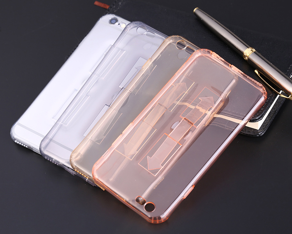 1 Piece HOCO 4.7 Inch Soft Transparent TPU Phone Cover with Ring Bucket for iPhone 6 / 6s