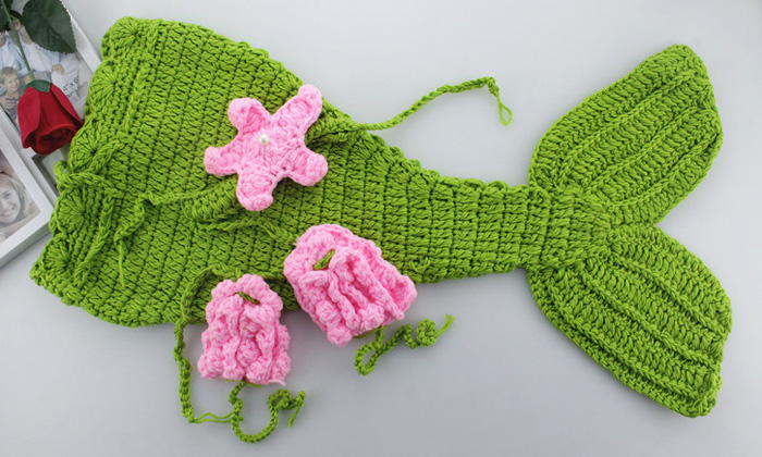 Lovely Baby Newborn Photography Mermaid Shaped Costume Comfortable Infant Crochet Photo Props