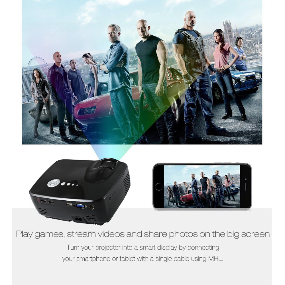 EMP - GP70 Portable 1200 Lumens Full HD LED Projector Video Home Cinema