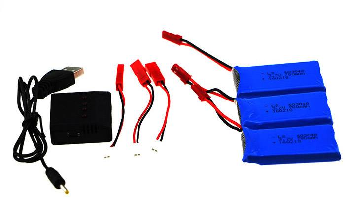 3Pcs 3.7V 780mAh Battery + Balance Charger / Cable Set Accessory for XK X250 X250-A X250-B Wltoys V686 Quadcopter
