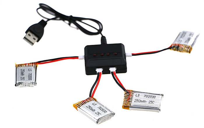 4 x 3.7V 250mAh 25C Battery + Balance Charger / Cable Set Accessory for JJRC JJ-1000 Quadcopter