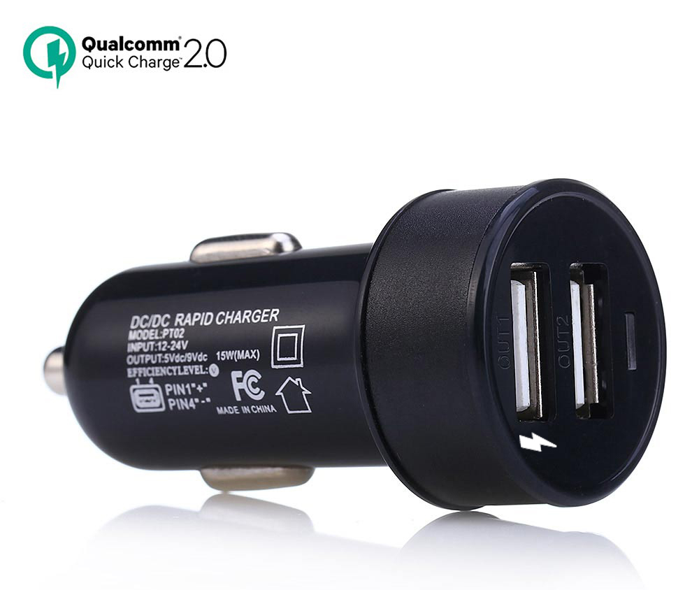 QC2.0 Dual USB Car Charger Rapid Charging Adapter