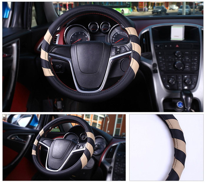 Beiling Diameter 38cm Car Steering Wheel Cover Color Contrast Style Protective Sleeve