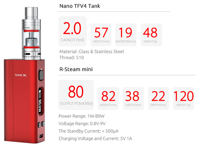 Smok Nano One E Cigarette Kit with 1 - 80W Box Mod / 2ml Stainless Steel Clearomizer