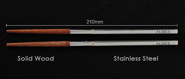 ALOCS TW-201 Stainless Steel Folding Chopsticks Tableware for Camping