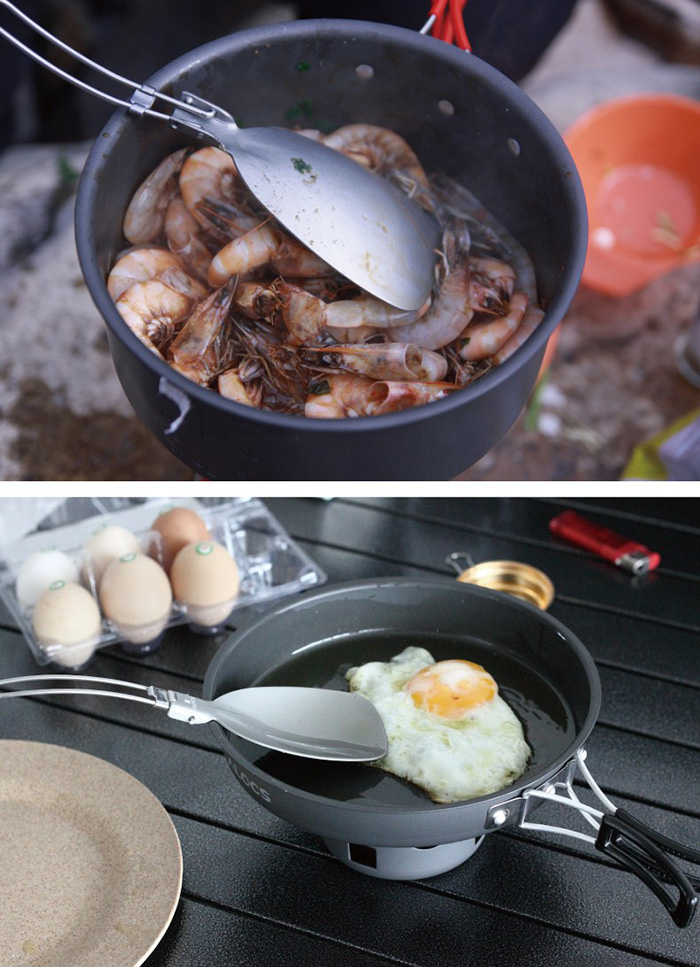 ALOCS TW-301 Stainless Steel Folding Pancake Turner for Camping