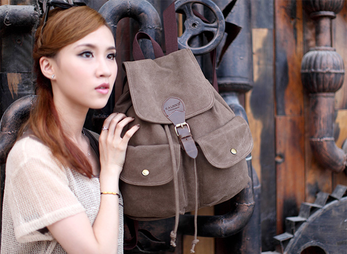 KAUKKO FJ17 22L Casual Style Canvas Backpack for Women