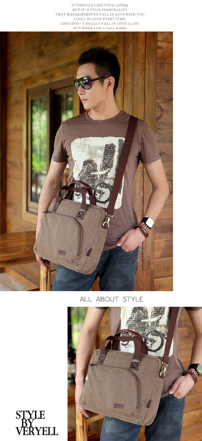 KAUKKO FJ24 11L Men Canvas Sling / Handle Bag Casual Style