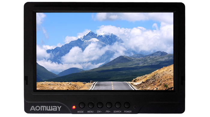 AOMWAY 7 inch LCD 5.8G 32CH Dual Receiver FPV Monitor with Sunshade / Antenna Set