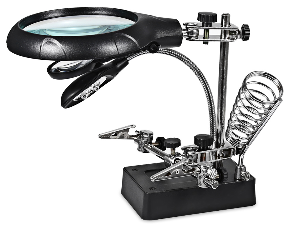5 LED Light 10X Magnifier Desk Lamp Alligator Auxiliary Clip Stand Desktop Magnifying Tool