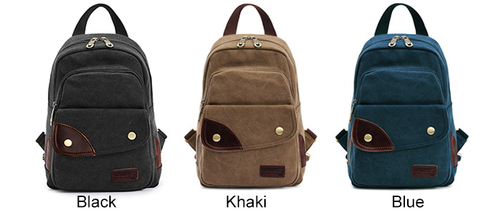 KAUKKO FJ75 6L Women Multi-function Canvas Backpack Chest Bag