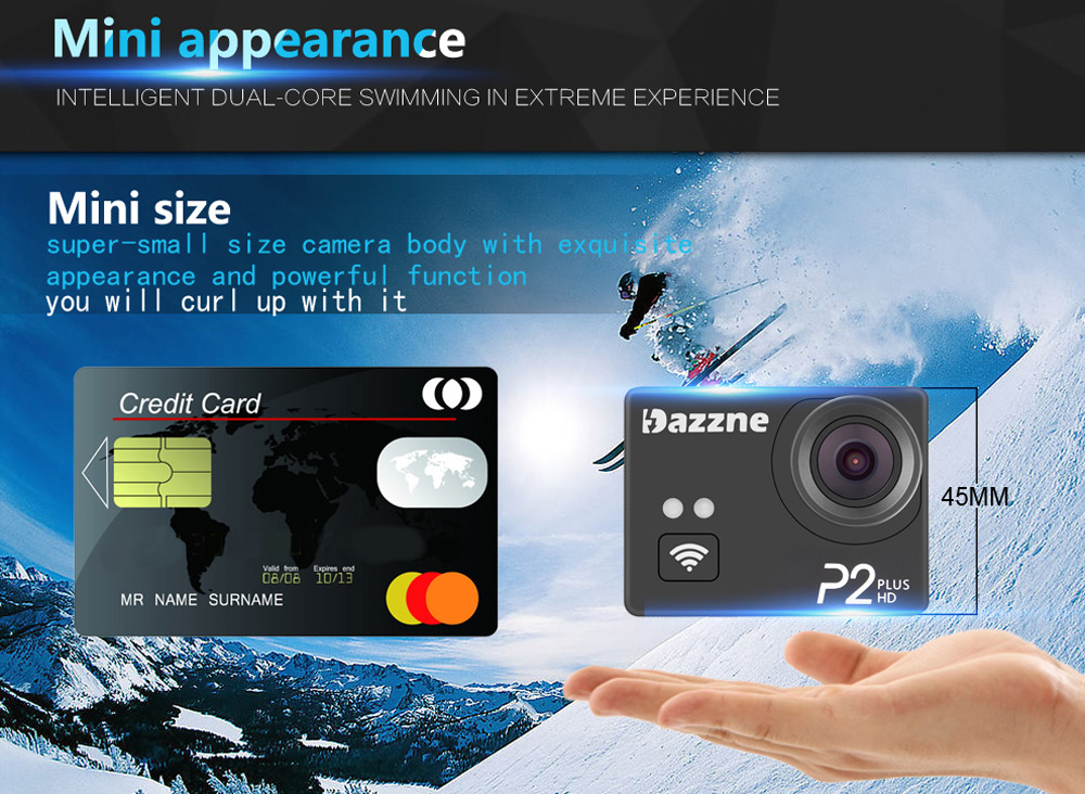 Original Dazzne P2 Plus 2K Super HD 170 Degree Wide Angle WiFi Action Camera with 2.0 inch TFT Screen Loop Cycle Recording Anti-Shake