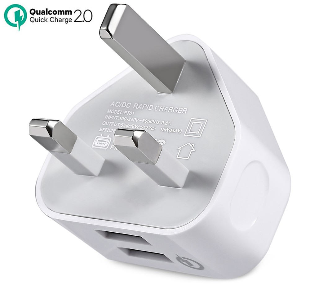 QC2.0 AC / DC Quick Charger Dual USB Power Adapter UK Plug