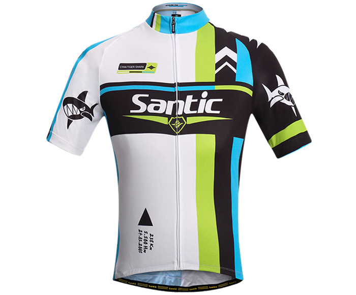 Santic Male Splicing Color Summer Cycling Suit with 4D Stereo Cushion