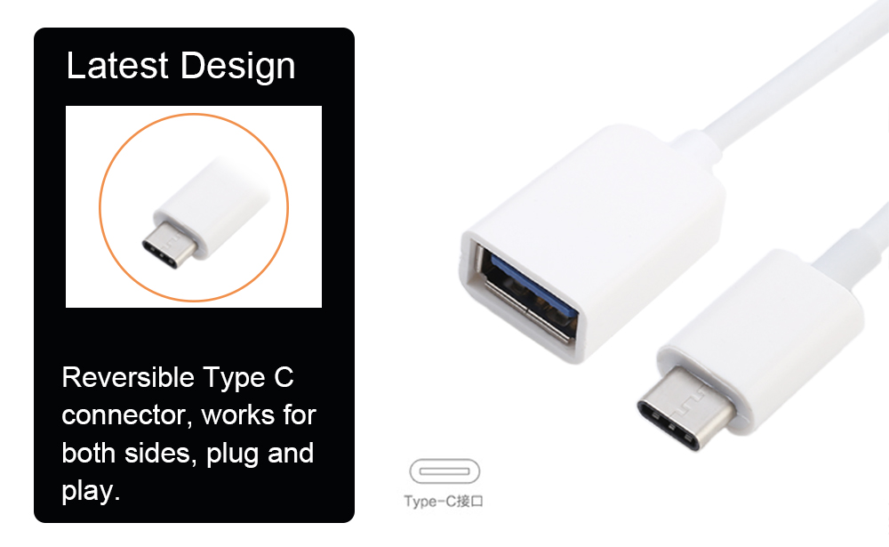 Type C USB-C Male to USB 3.0 USB-A Female OTG Data Cable