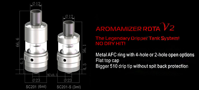 Original Steam Crave Aromamizer RDTA V2 with 6ml / 2 Posts Rebuildable Dripping Tank Atomizer for E Cigarette