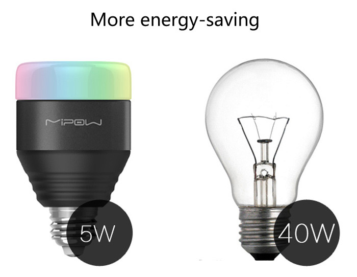 MIPOW Wireless  E27 Smart LED Bulb Bluetooth 4.0 App Remote Control 16 Million RGB Lamp for iPhone 6 / 5 / iPad / iTouch