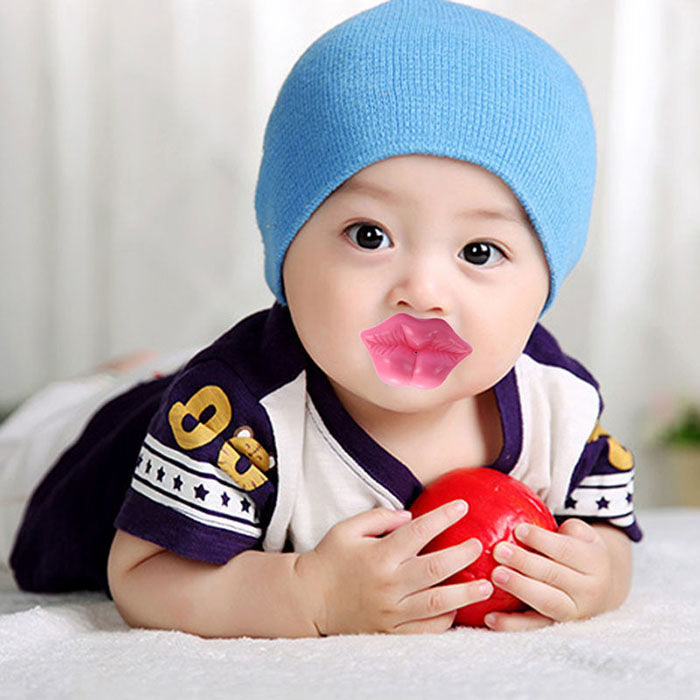 Silicone Pink Lip Shape Baby Pacifier Infant Sucker