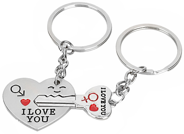 2PCS Creative I Love You Pattern Keychain for Lovers