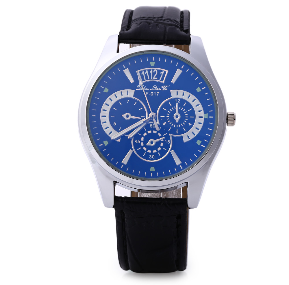 Male Quartz Watch Luminous Pointer Working Sub-dials Water Resistance Wristwatch