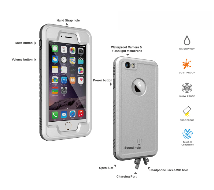 Waterproof Case Protective Cover Case for iPhone 6 Plus / 6S Plus Drop Proof