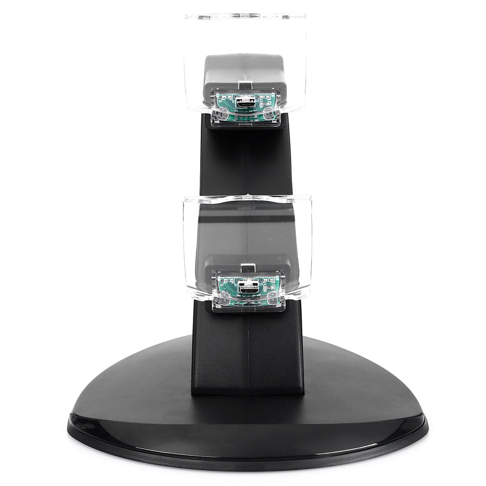 Dual Micro USB with Blue LED Indicator Charging Dock Station Stand for PS4 Controller Large Size
