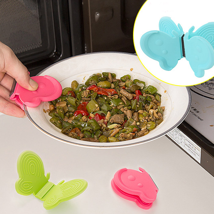 Butterfly Shaped Silicone Magnets Cooking Plate Pot Clip Holders Heat Resistant Surface Protectors