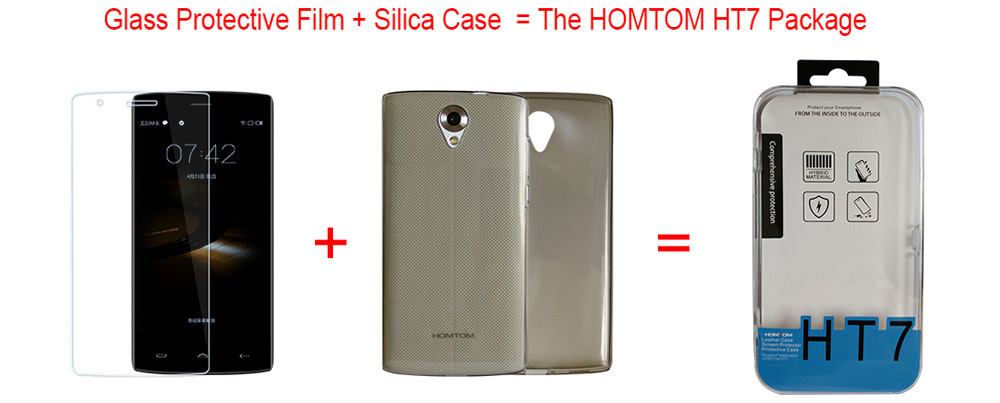 Original HOMTOM HT7 Silica Case and Ultra-thin Tempered Glass Screen Protector Set