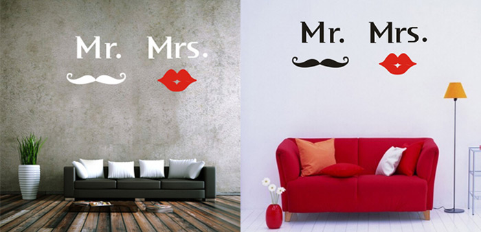 Mr Mustache Mrs Red Lips Style Removable Wall Stickers Room Window Decoration for Bedroom