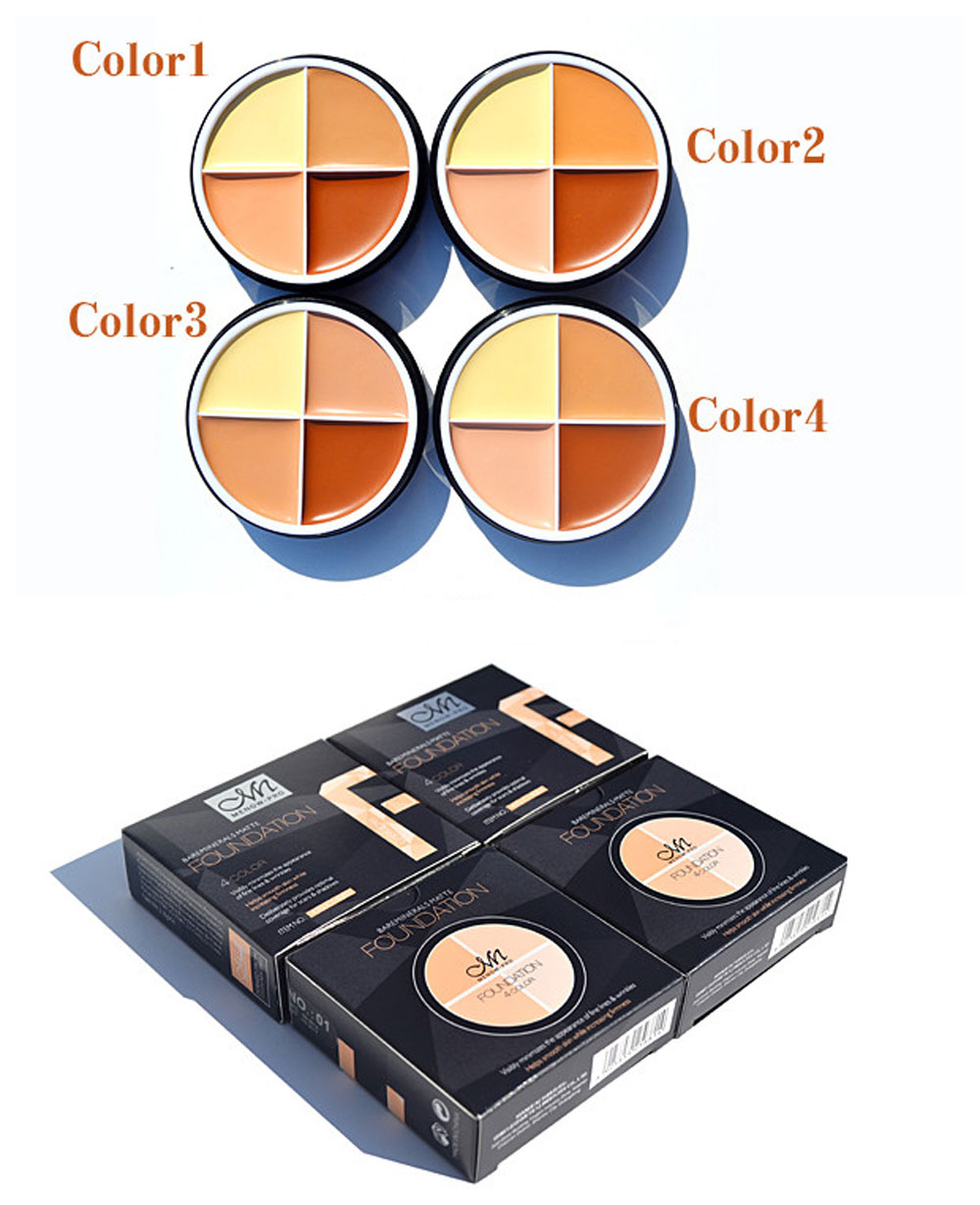 4 Colors Matte Cream Concealer Palette Foundation (02#)