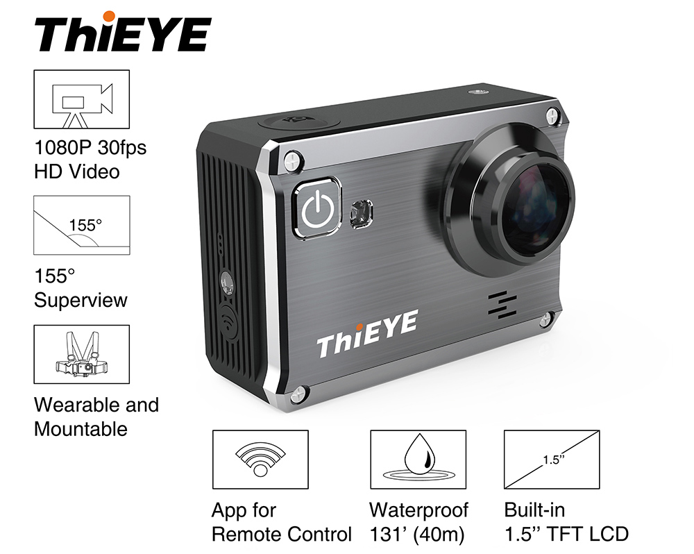 ThiEYE i30 1080P WiFi 3MP 155 Degree Wide Angle Action Sport Camera Car DVR Mode G-Sensor Loop Cycle Recording 1.5 inch TFT Display Screen