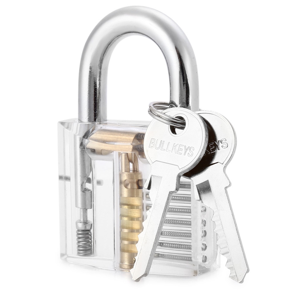 Transparent Skill Training Padlock Set Inside-view with Manganese Steel Lock Pick