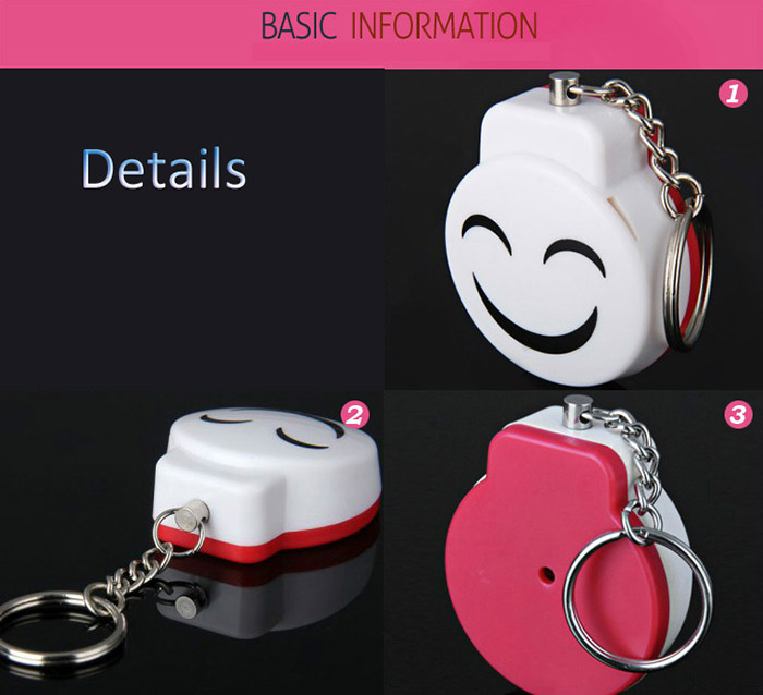 Guard Safety Security Alarm Keychain Self Defense Smile Face