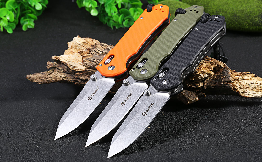 Ganzo G7452-BK-WS Axis Lock Pocket Knife + Whistle
