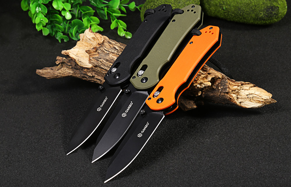 Ganzo G7453-OR-WS Axis Lock Pocket Knife + Whistle