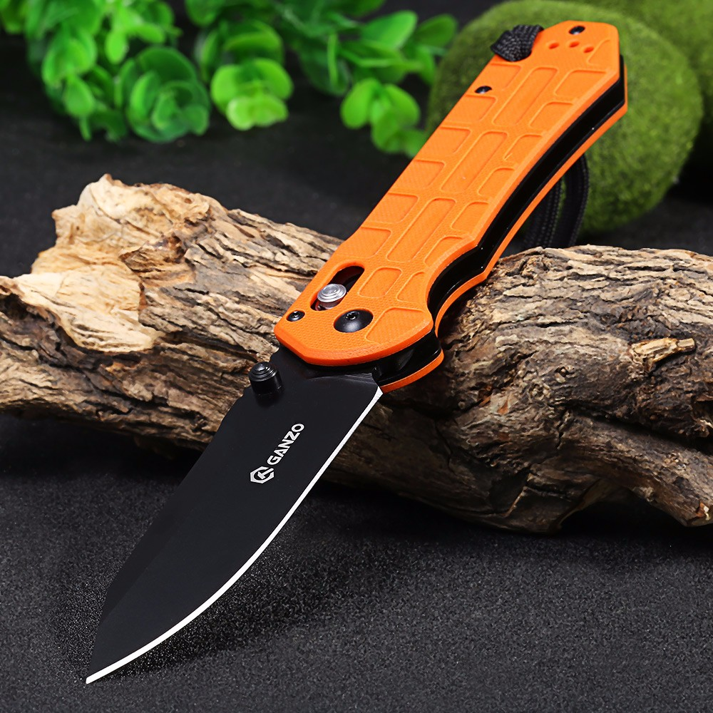 Ganzo G7453P-OR-WS Axis Lock Pocket Knife + Whistle