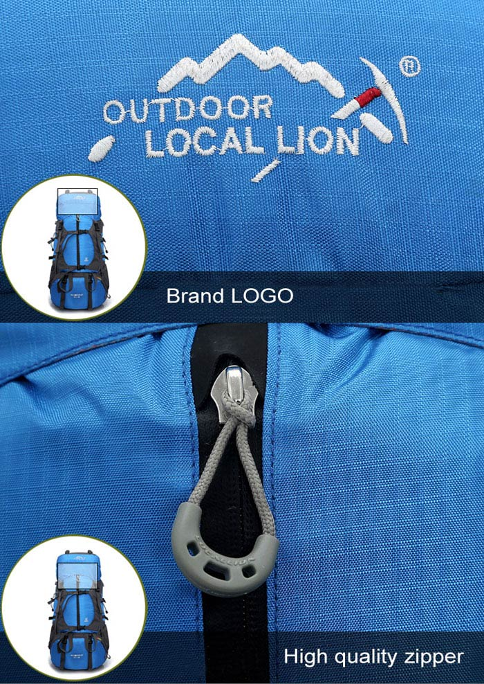 LOCAL LION 60L Multifunctional Water Resistant Trekking Backpack for Outdoor Camping Hiking