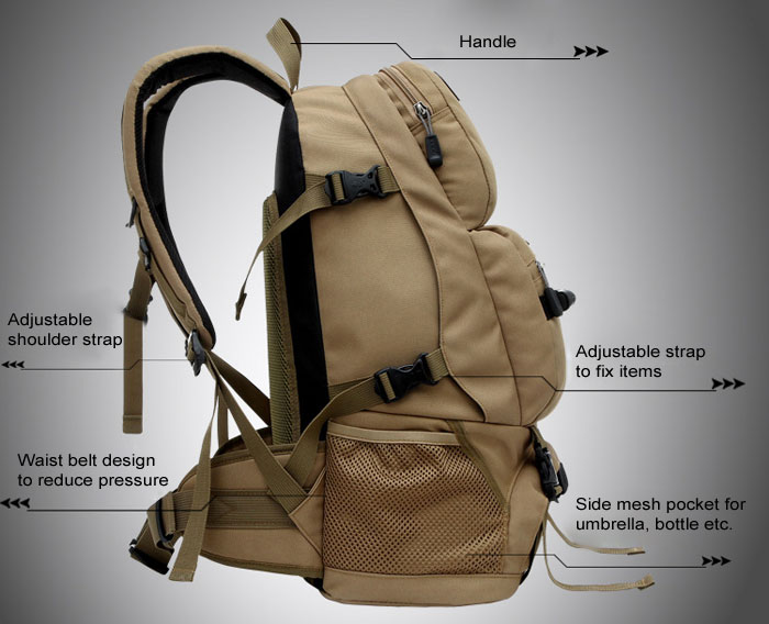 LOCAL LION 40L Nylon Tactical Trekking Backpack for Outdoor Camping Hiking