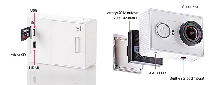 Xiaomi Yi Action Camera Official EU. Edition WiFi 2K Super HD 155 Degree Wide Angle 16MP Sport DV Recorder