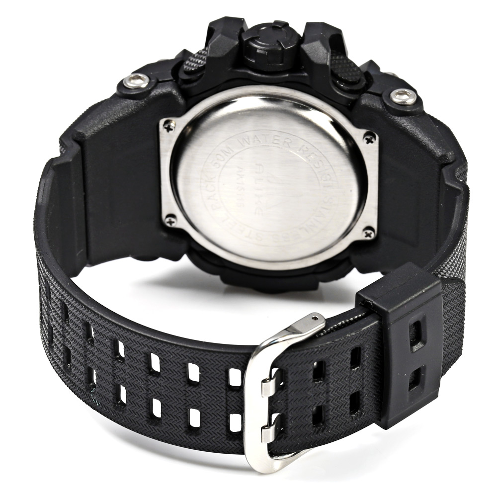 Alike AK15116 Dual Movt Day Date Display World Time LED Sports Watch Water Resistance