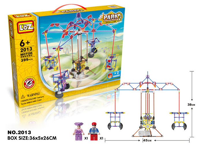 LOZ 2013 Amusement Park Cable Car Building Joint Block with Motor Assemble Toy Educational Kid Game