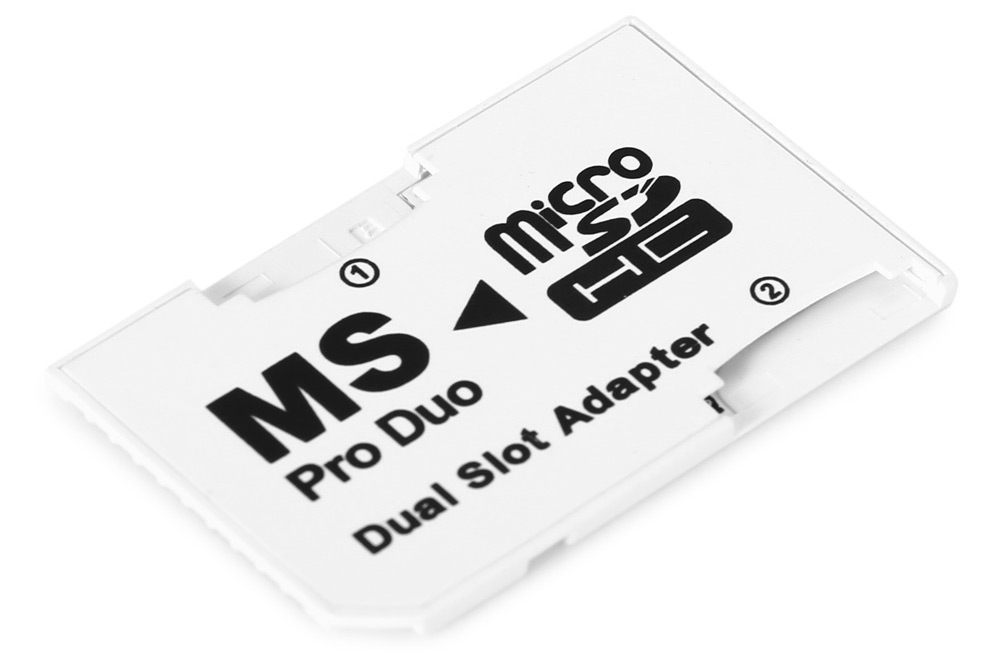 Micro SDHC TF Card to MS Pro Duo Dual Slot Adapter