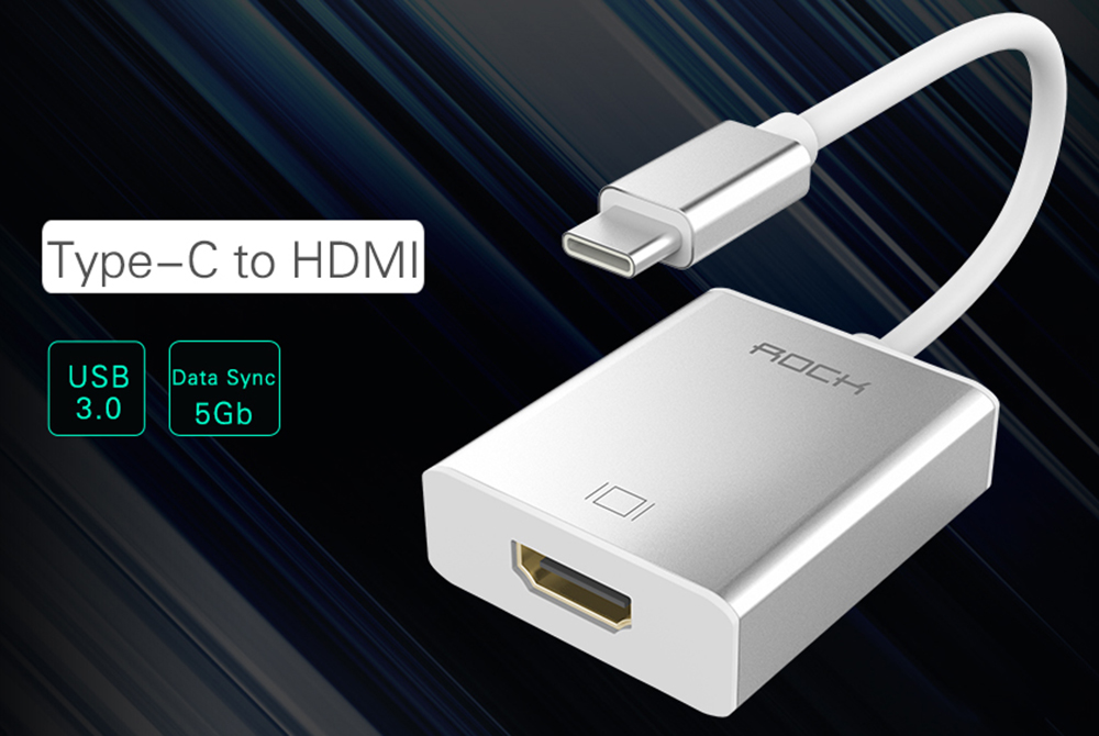 Rock USB 3.0 Type C to HDMI Female Converter Quick Charging Sync Data Cable - 150mm