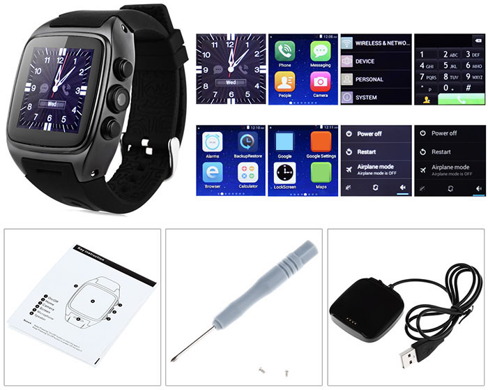 ORDRO SW16 Android 5.1 3G Smartwatch Phone MTK6572 Dual Core 1.0GHz IP67 Waterproof WiFi GPS 3MP Camera