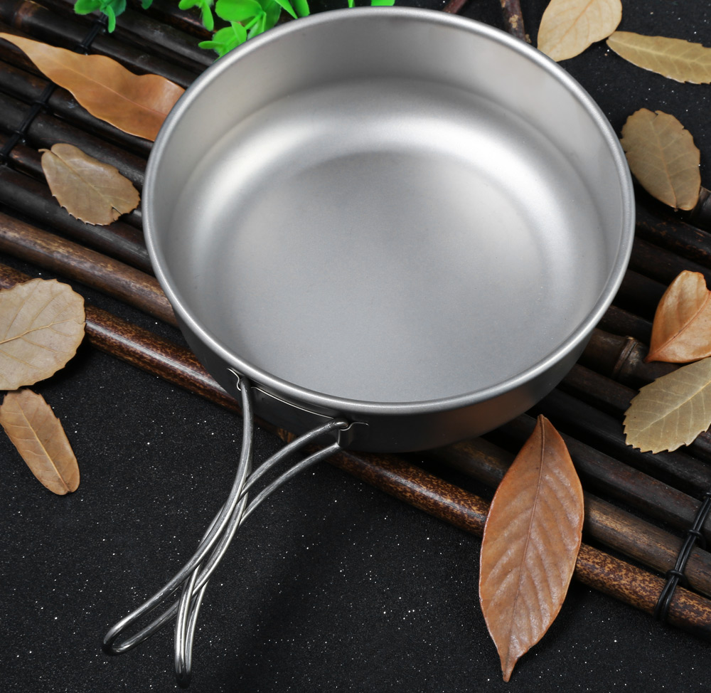 Keith Ti5326 600mL Titanium Bowl with Folding Handle for Outdoor Camping